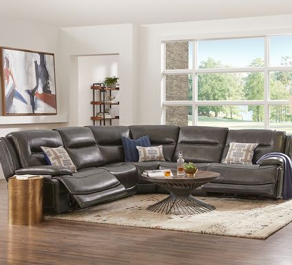 Palladino Gray Leather 5 Pc Dual Power Reclining Sectional