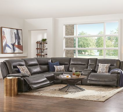 Palladino Gray Leather 6 Pc Dual Power Reclining Sectional