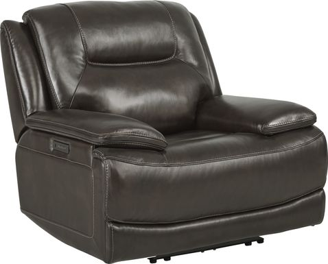 Palladino Gray Leather Dual Power Recliner