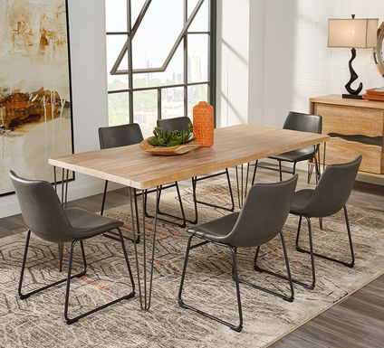 Palm Grove Brown 5 Pc Dining Room with Gray Chairs