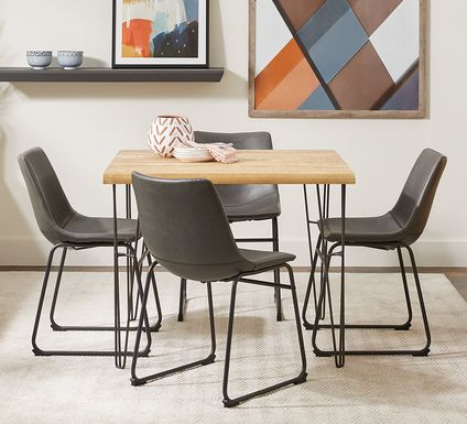 Palm Grove Brown 5 Pc Square Dining Room with Gray Chairs