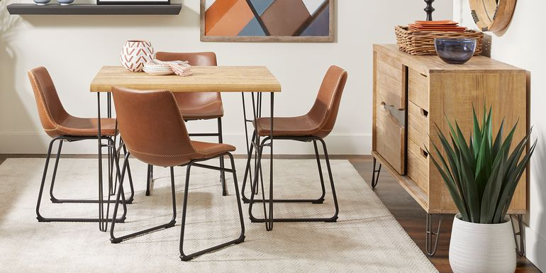 Palm Grove Brown Square 5 Pc Dining Room with Brown Chairs