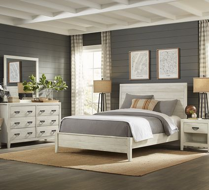 Palm Grove White 5 Pc Queen Panel Bedroom