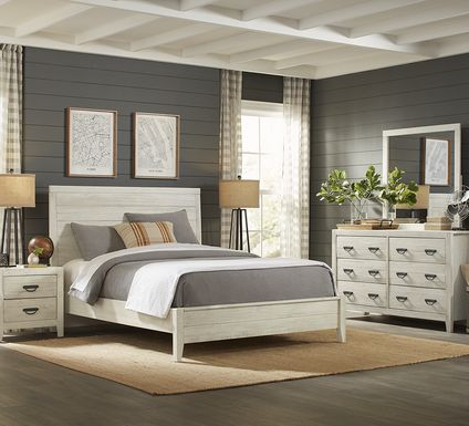 Palm Grove White 7 Pc Queen Panel Bedroom