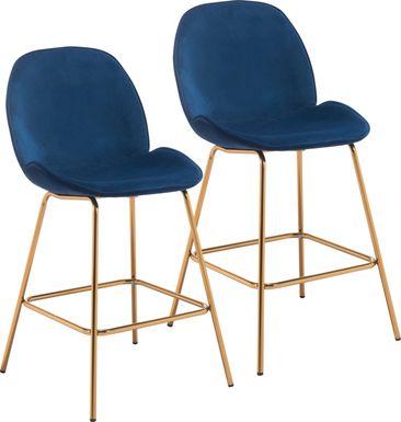 Palou Blue Counter Height Stool, Set of 2