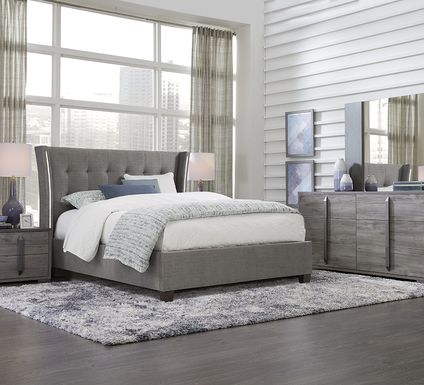 Park Slope Gray 5 Pc King Upholstered Bedroom