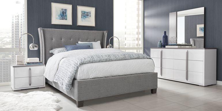 Park Slope White 5 Pc King Upholstered Bedroom