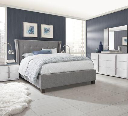 Park Slope White 5 Pc Queen Upholstered Bedroom
