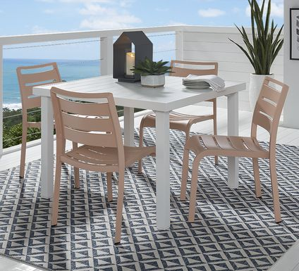 Park Walk White 5 Pc 40 in. Square Dining Set with Blush Chairs