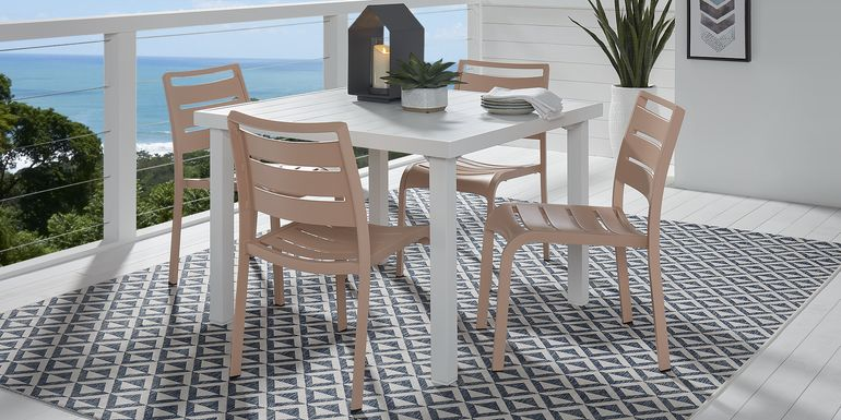 Park Walk White 5 Pc Square Dining Set with Blush Chairs