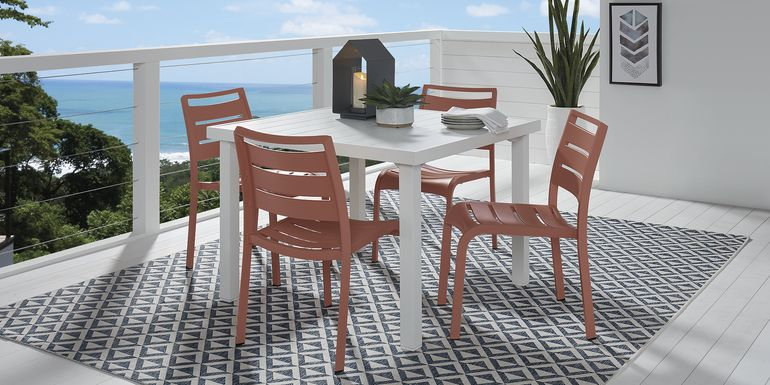 Park Walk White 5 Pc 40 in. Square Dining Set with Coral Chairs