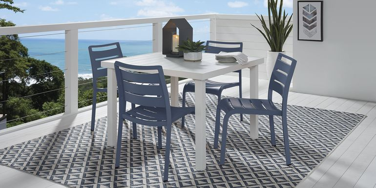 Park Walk White 5 Pc 40 in. Square Dining Set with Navy Chairs