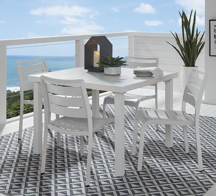 Park Walk White 5 Pc 40 in. Square Dining Set