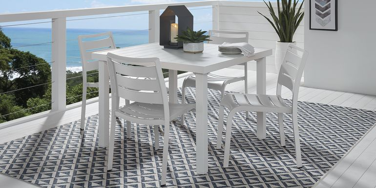 Park Walk White 5 Pc Square Dining Set