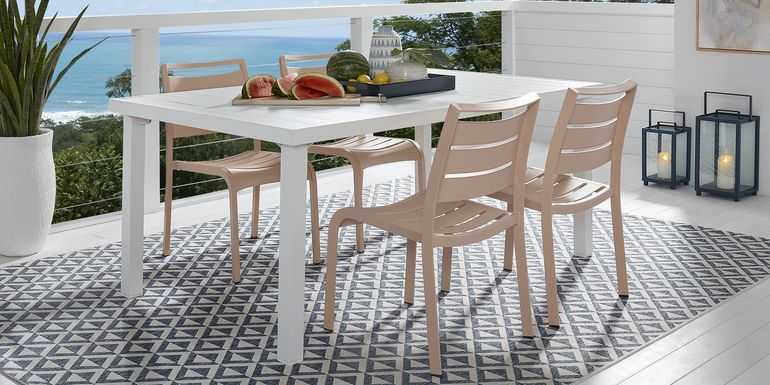 Park Walk White 5 Pc Rectangle Dining Set with Blush Chairs