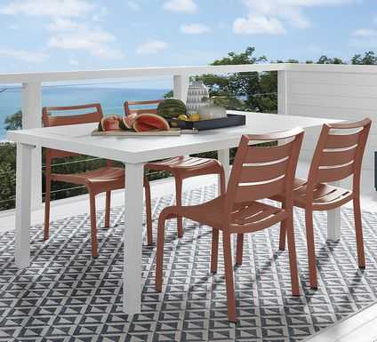 Park Walk White 5 Pc Rectangle Dining Set with Coral Chairs