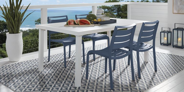 Park Walk White 5 Pc Rectangle Dining Set with Navy Chairs