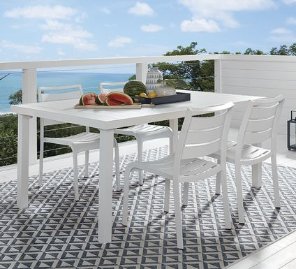 Park Walk White 5 Pc Rectangle Outdoor Dining Set