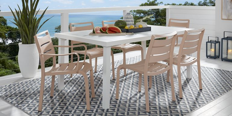 Park Walk White 7 Pc 70 in. Rectangle Dining Set with Blush Chairs