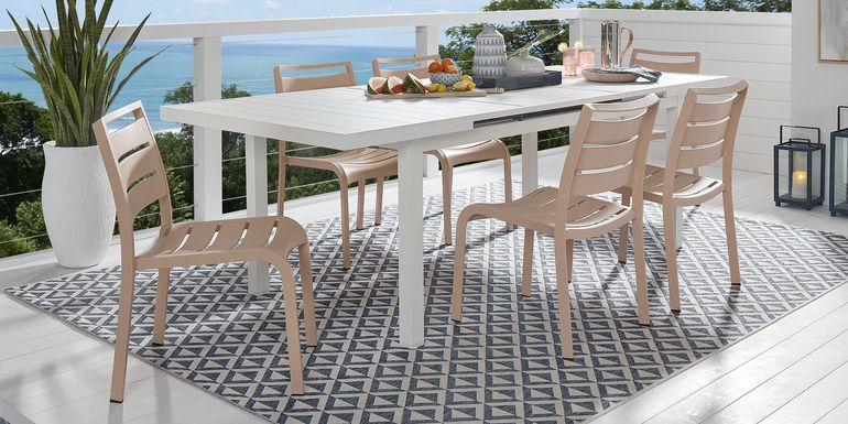 Park Walk White 7 Pc 73 - 97 in. Rectangle Extension Dining Set with Blush Chairs