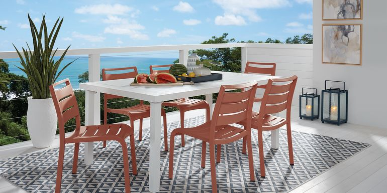 Park Walk White 7 Pc Rectangle Dining Set with Coral Chairs