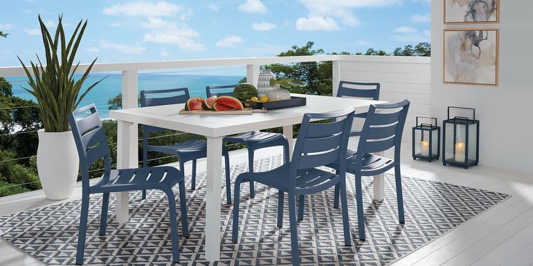 Park Walk White 7 Pc Rectangle Dining Set with Navy Chairs