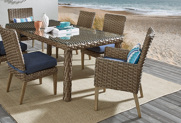 Outdoor Patio Dining Furniture Wicker, Solana Bay 7-Piece Patio Dining Set
