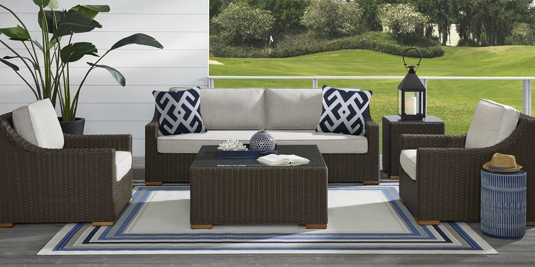 Patmos Brown 4 Pc Outdoor Seating Set with Linen Cushions