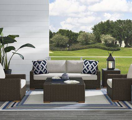 Patmos Brown 6 Pc Outdoor Seating Set with Linen Cushions