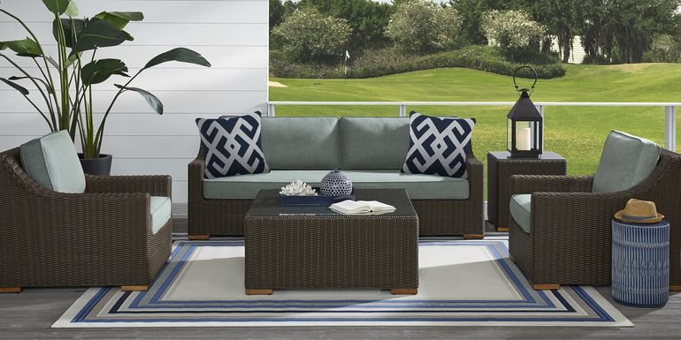 Patmos Brown 6 Pc Outdoor Seating Set with Moss Cushions