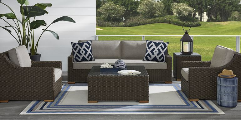 Patmos Brown 6 Pc Outdoor Seating Set with Mushroom Cushions