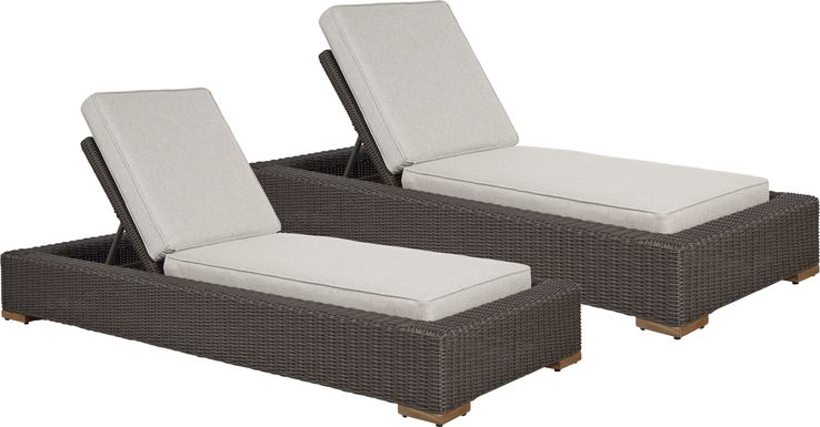 Patmos Brown Outdoor Chaise with Linen Cushions, Set of 2