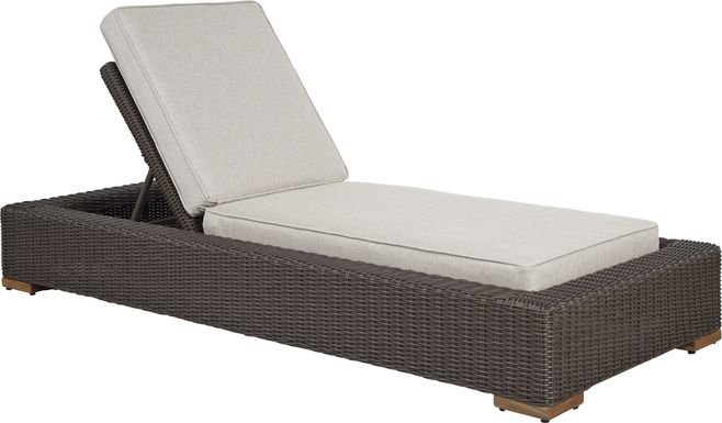 Patmos Brown Outdoor Chaise with Linen Cushions