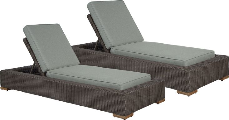Patmos Brown Outdoor Chaise with Moss Cushions, Set of 2