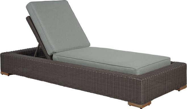 Patmos Brown Outdoor Chaise with Moss Cushions