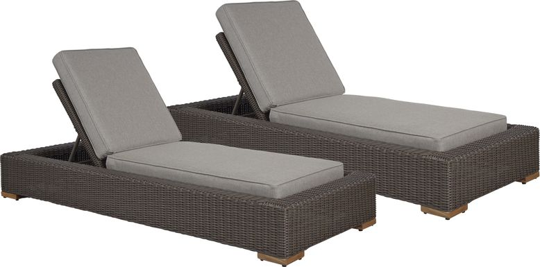 Patmos Brown Outdoor Chaise with Mushroom Cushions, Set of 2