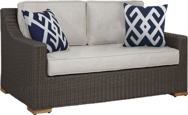 Patmos Brown Outdoor Loveseat with Linen Cushions