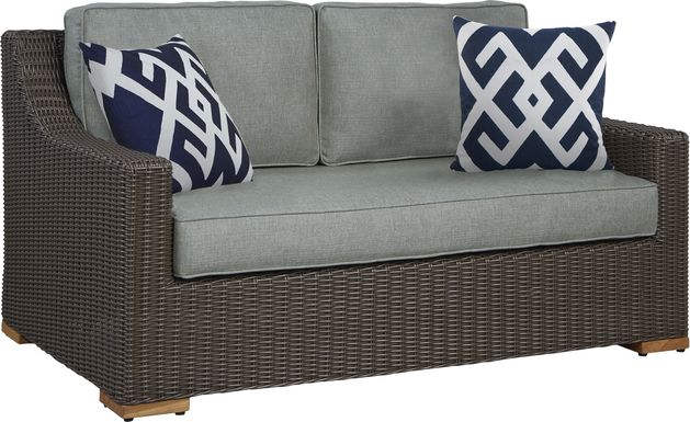 Patmos Brown Outdoor Loveseat with Moss Cushions