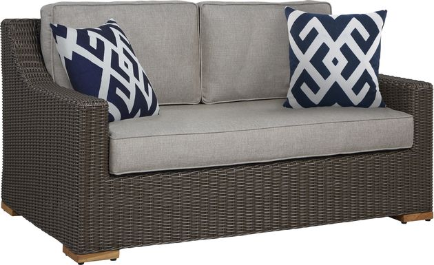 Patmos Brown Outdoor Loveseat with Mushroom Cushions