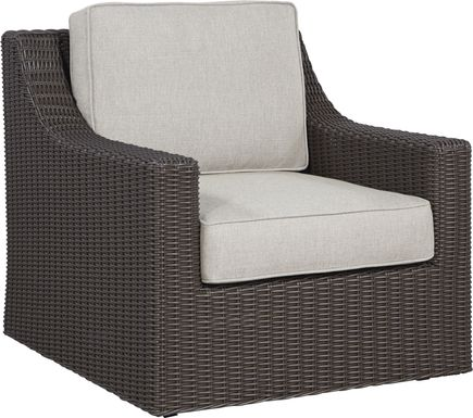 Patmos Brown Outdoor Rocker Chair with Linen Cushions