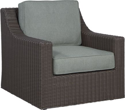 Patmos Brown Outdoor Rocker Chair with Moss Cushions