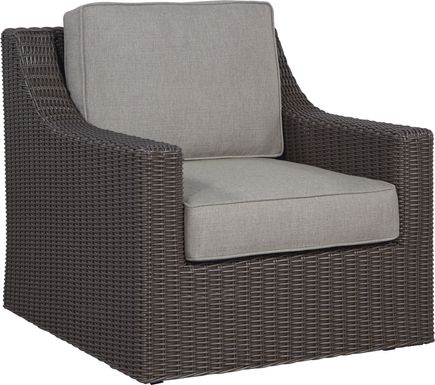 Patmos Brown Outdoor Rocker Chair with Mushroom Cushions