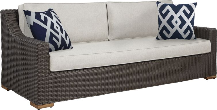 Patmos Brown Outdoor Sofa with Linen Cushions