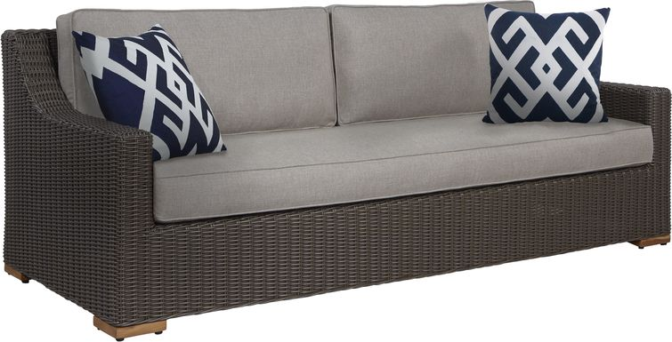 Patmos Brown Outdoor Sofa with Mushroom Cushions