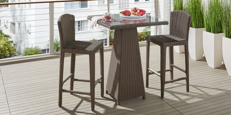 Patmos Brown Wicker 3 Pc 32 in. Square Bar Height Dining Set