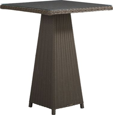 Patmos Brown Wicker 32 in. Square Bar Table