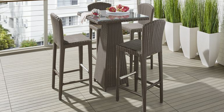 Patmos Brown Wicker 5 Pc 32 in. Square Bar Height Dining Set