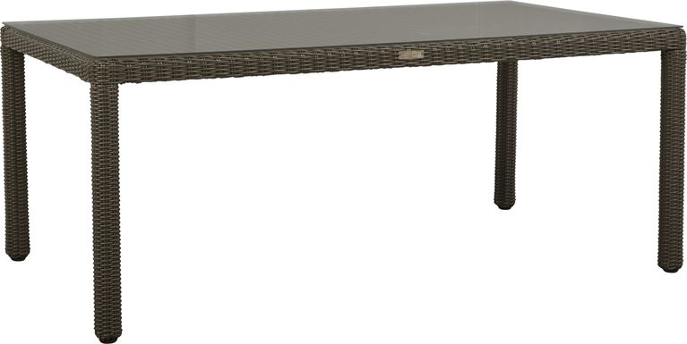 Patmos Brown Wicker Rectangle Dining Table
