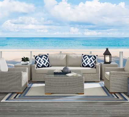 Patmos Gray 4 Pc Outdoor Seating Set with Linen Cushions