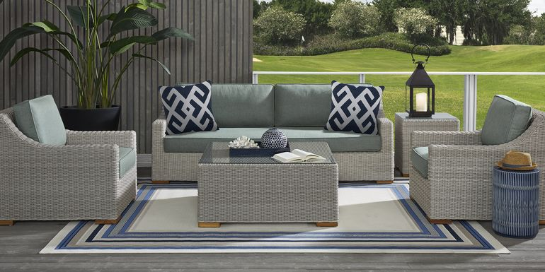 Patmos Gray 4 Pc Outdoor Seating Set with Moss Cushions